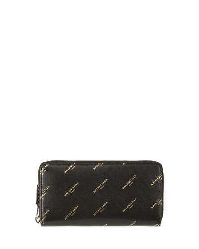 Bazar Continental Zip-Around Wallet, Black/Gold