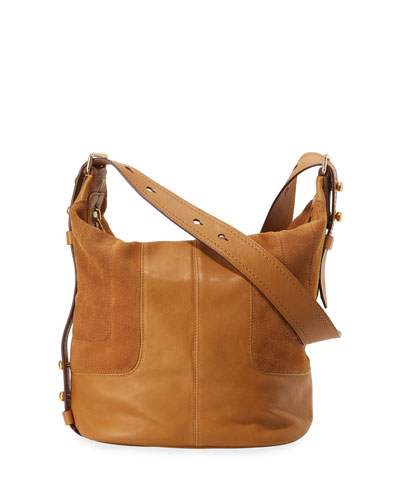 The Sling Mixed Leather Hobo Bag, Mustard