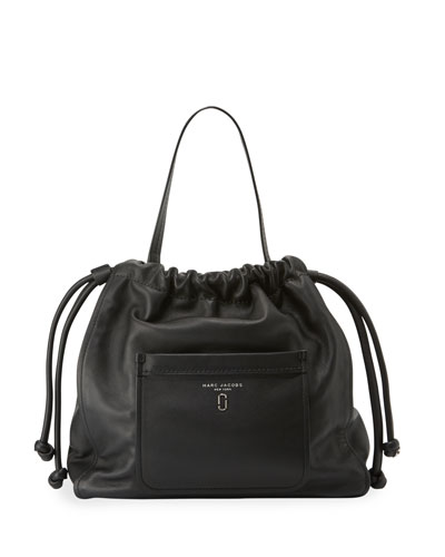 Tied Up Leather Hobo Bag, Black