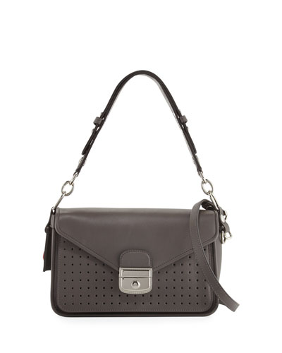 Mademoiselle Perforated Leather Crossbody Bag