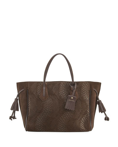 Penelope Medium Python-Embossed Tote Bag