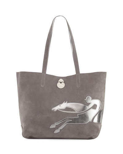 Shop-It Medium Suede Tote Bag