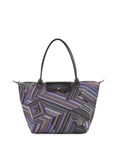 Le Pliage Pop Art Striped Shoulder Tote Bag, Navy