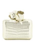 Crocodile Rose Box Clutch Bag