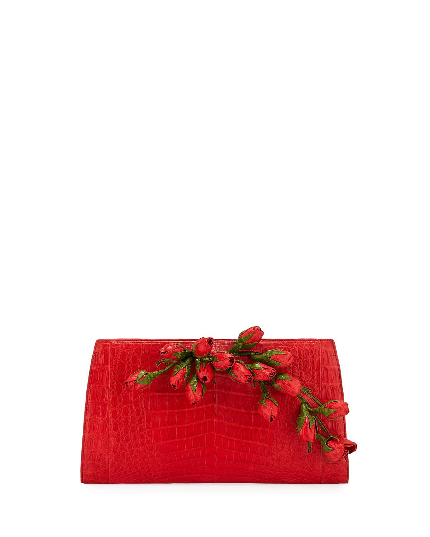 Rose Bud Slicer Crocodile Clutch Bag