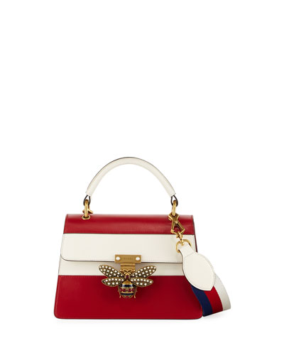 Queen Margaret Small Top-Handle Bag, Hibiscus Red/Mystic White