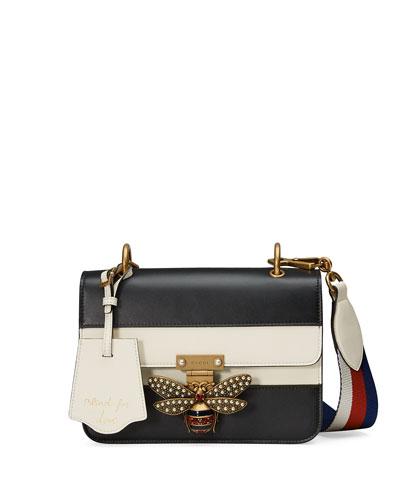 Linea Medium Striped Leather w/ Bee Shoulder Bag, Black/White