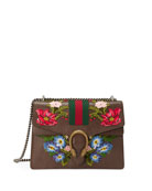 Dionysus Floral Embroidered Shoulder Bag, Gray/Multi