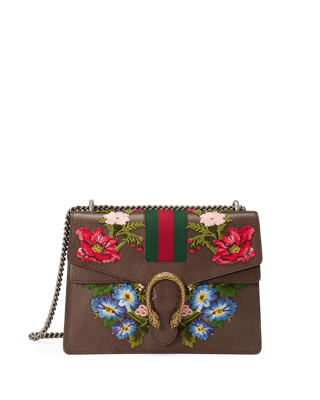 Dionysus Floral Embroidered Shoulder Bag, Gray/Multi