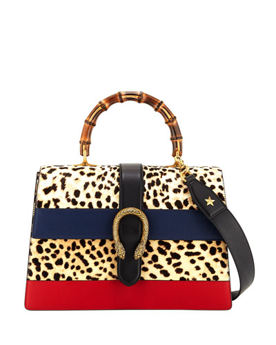 Dionysus Large Bamboo Top-Handle Bag in Leopard Calf Hair