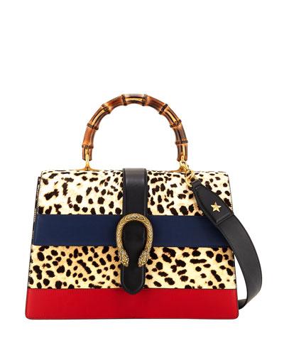 Dionysus Large Bamboo Top-Handle Bag in Leopard Calf Hair