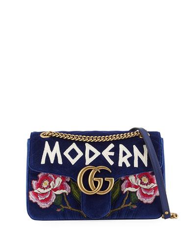 GG Marmont Modern Velvet Shoulder Bag, Cobalt