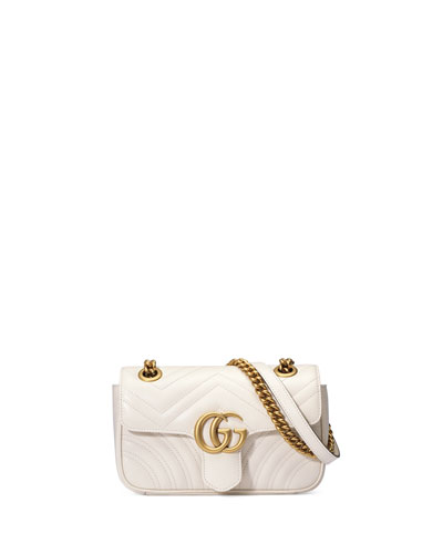 Small Gg Marmont 2.0 Matelasse Leather Shoulder Bag - White