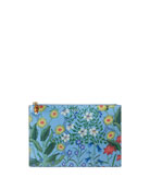Flora Large Printed Flat Pouch Bag, Blue/Multi