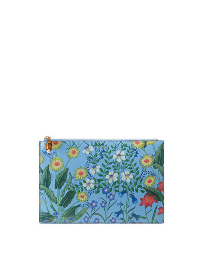 Flora Large Printed Flat Pouch Bag, Blue/Multi