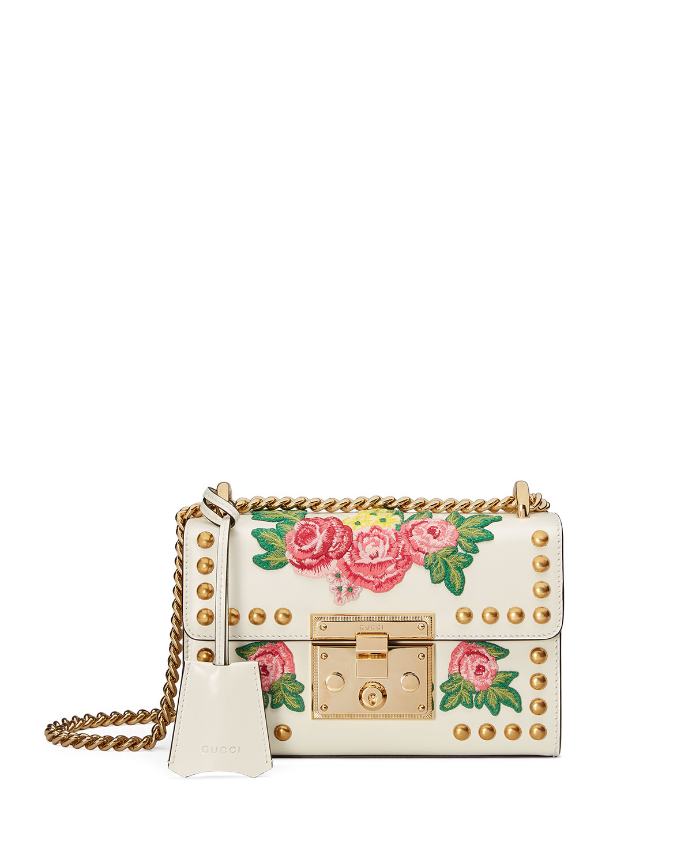 Padlock Mini Floral Patches Shoulder Bag