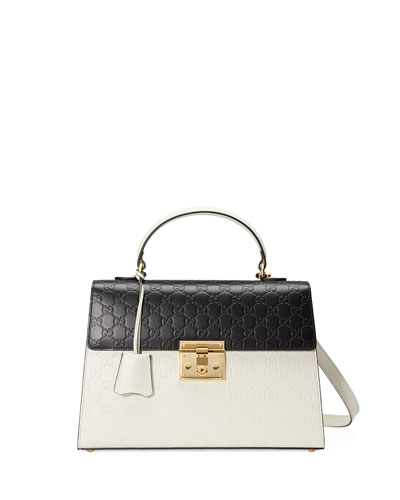 Padlock Medium Guccissima Top-Handle Bag, White/Black
