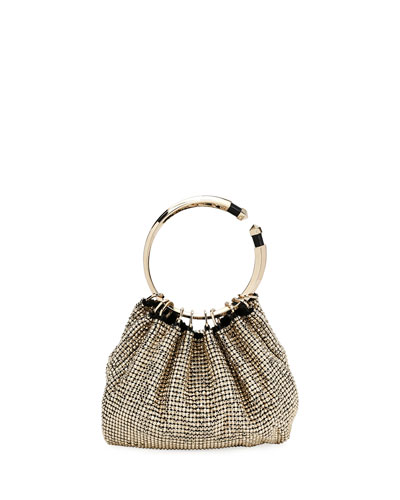 Bebop Ring Loop-Handle Clutch Bag, Gold