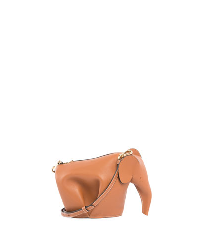 Leather Elephant Mini Bag, Beige