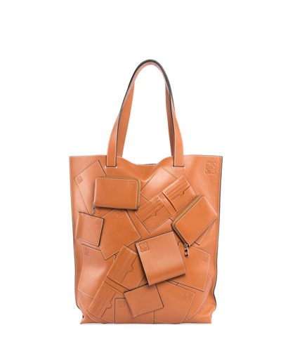Vertical Leather Tote Bag with Wallet Appliques, Beige