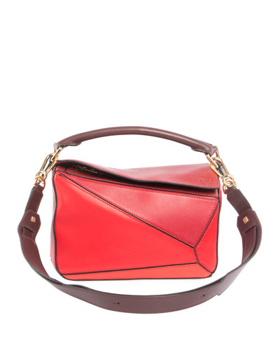 Puzzle Small Patchwork Satchel Bag, Red