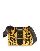 Velvet Animalier Cahier Shoulder Bag, Leopard
