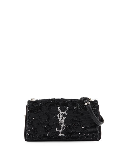 Toy West Hollywood Monogram Sequin Crossbody Bag, Black