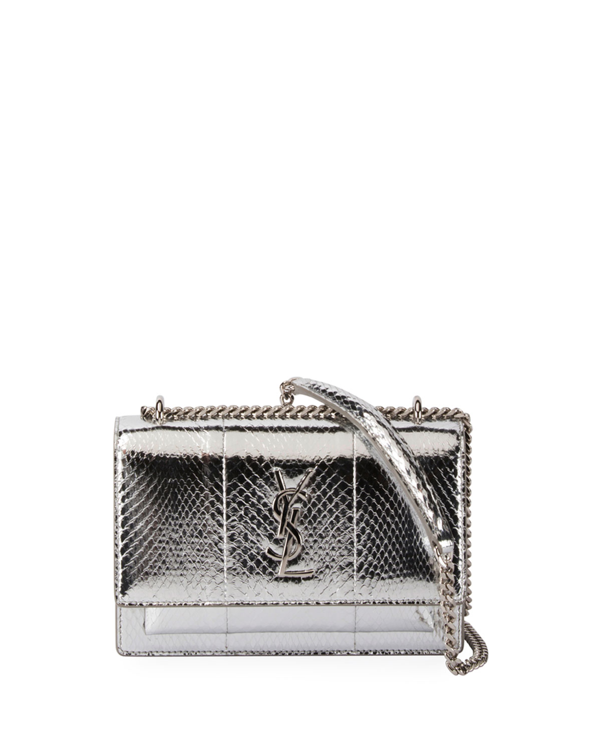 Sunset Monogram Snakeskin Wallet on Chain, Silver