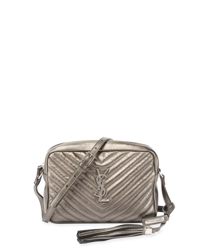 LouLou Monogram Medium Quilted Metallic Leather Crossbody Bag, Gray