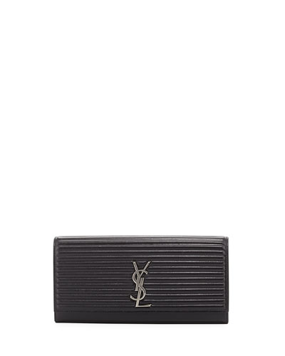 Kate Monogram Quilted Clutch Bag, Black