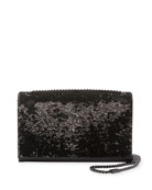Kate Monogram Medium Paillette-Embroidered Shoulder Bag, Black
