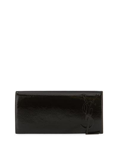 Smoking Monogram Patent Leather Clutch Bag, Black