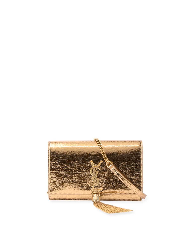 Kate Crinkled Metallic Tassel Chain Wallet, Bronze