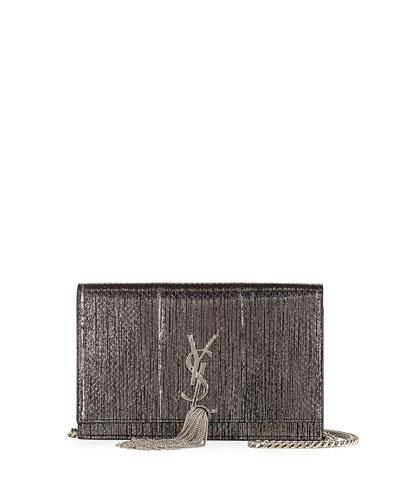 Kate Monogram Snakeskin Tassel Wallet on a Chain
