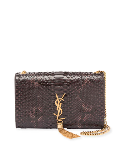 Kate Medium Monogram Python Tassel Bag, Black