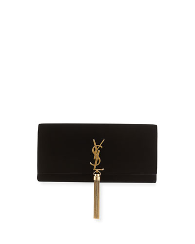Kate Monogram Velvet Clutch Bag