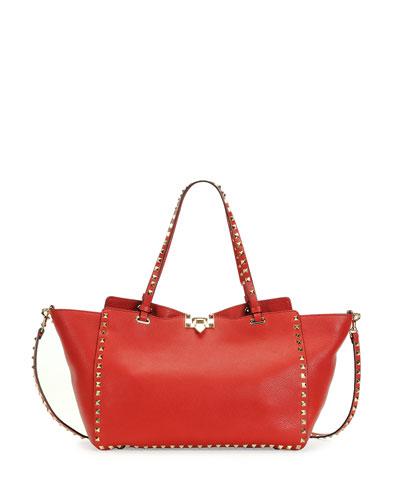 Rockstud Medium Grained Tote Bag, Red