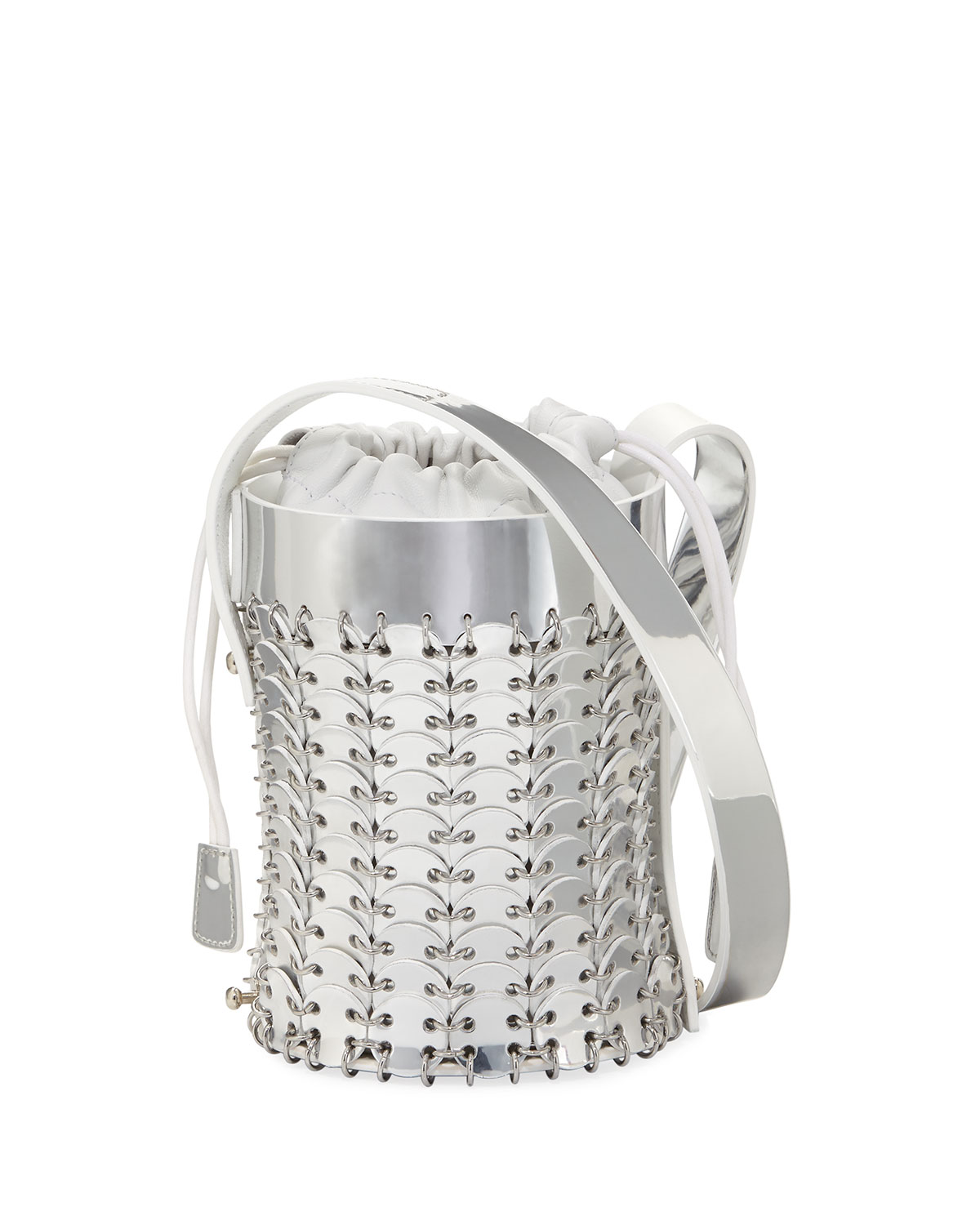 14#01 Chain-Link Mini Mirrored Leather Bucket Bag