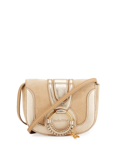 Hana Mini Leather Shoulder Bag, Beige