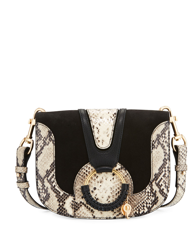 Hana Medium Ring Snake-Print Saddle Bag