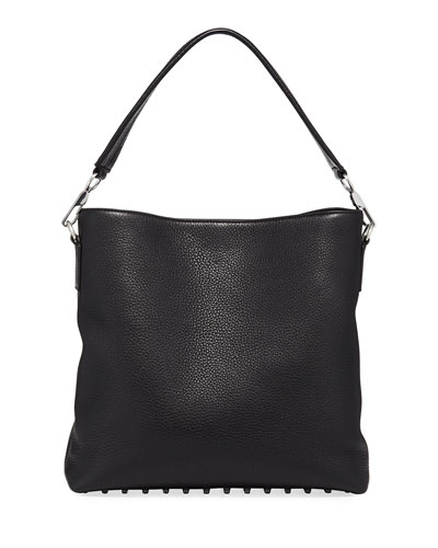 Dumbo Pebbled Leather Hobo Bag, Black