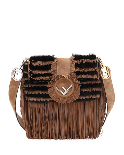 Two-Tone Suede/Fur Fringe Shoulder Bag