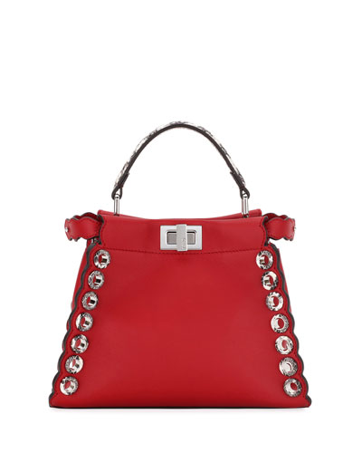 Peekaboo Mini Leather Satchel Bag, Red