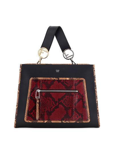 Runaway Medium Leather Tote Bag w/ Python Patch