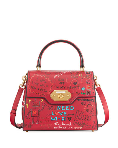 Welcome Graffiti Large Satchel Bag, Red