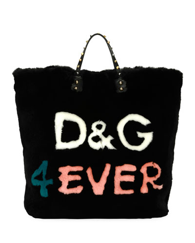 Beatrice DG 4 Ever Fur Tote Bag, Black/Multi