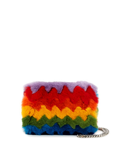 Ginny Rainbow Fur and Napa Shoulder Bag