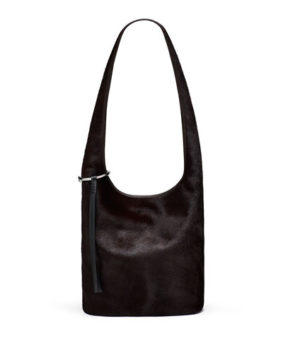 Finley Courier Cow Hair Hobo Bag, Chocolate