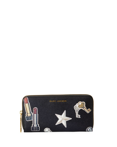 Tossed Charms Saffiano Continental Wallet