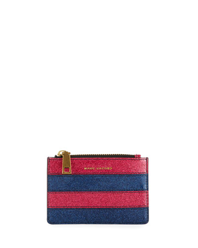 Striped Glitter Zip Wallet